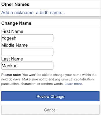 Remove last name from Facebook name