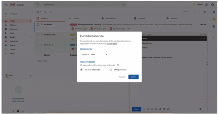 Enable Gmail Confidential Mode