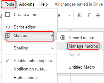 record Macros in Google Spreadsheets