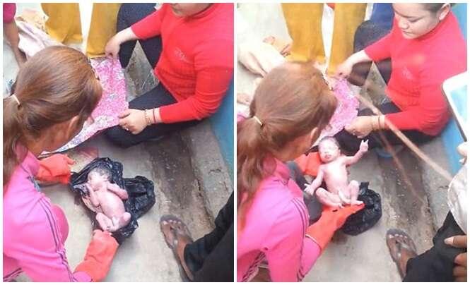 Vídeo chocante mostra momento em que bebê recém-nascido é encontrado dentro de saco de lixo