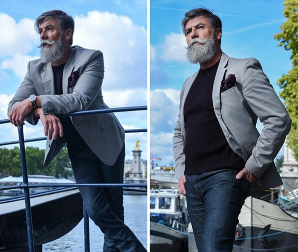 HOmem 60 anos deixa barba grande