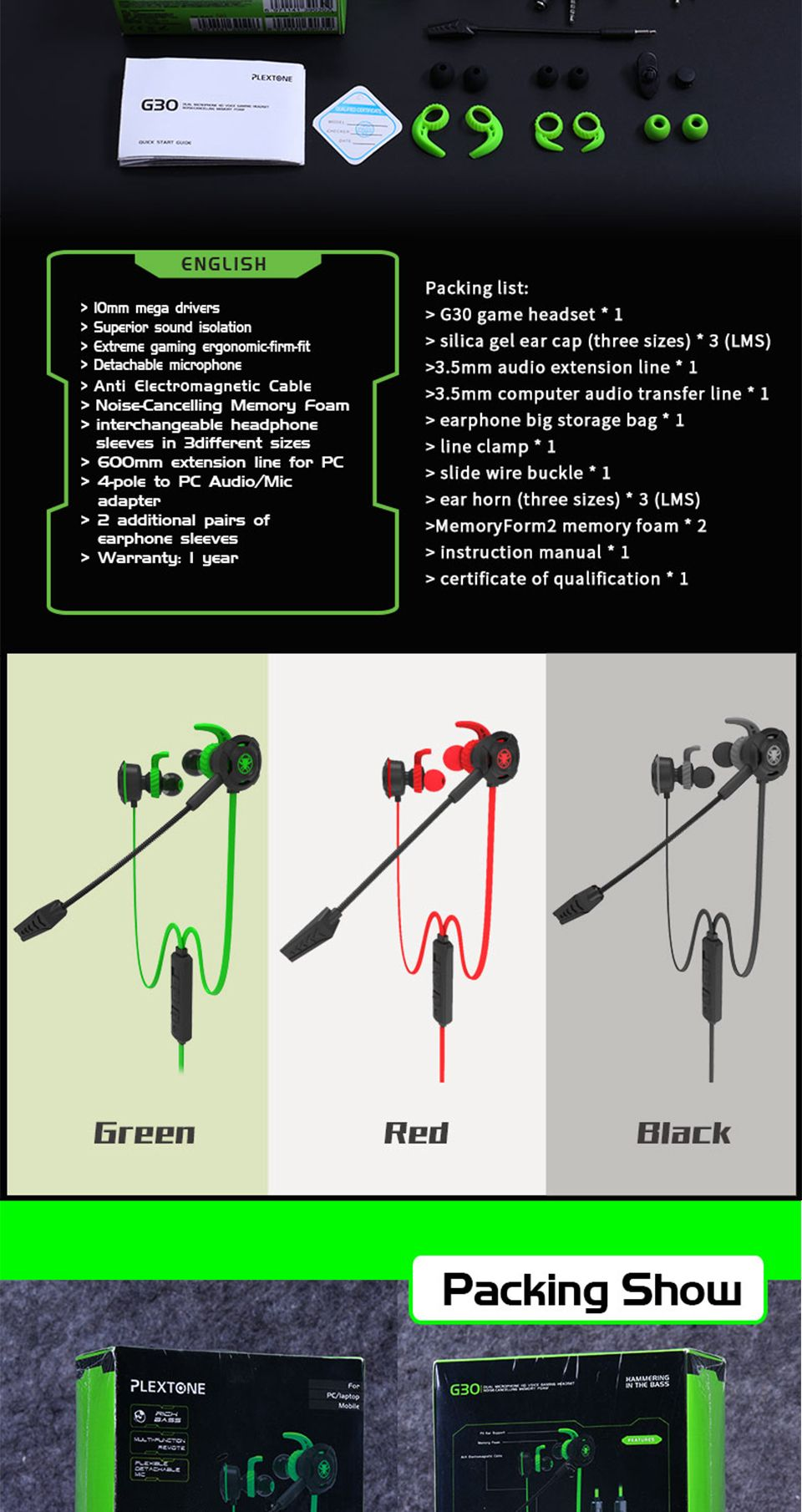 hight resolution of  plextone g30 gaming headset with microphone 14