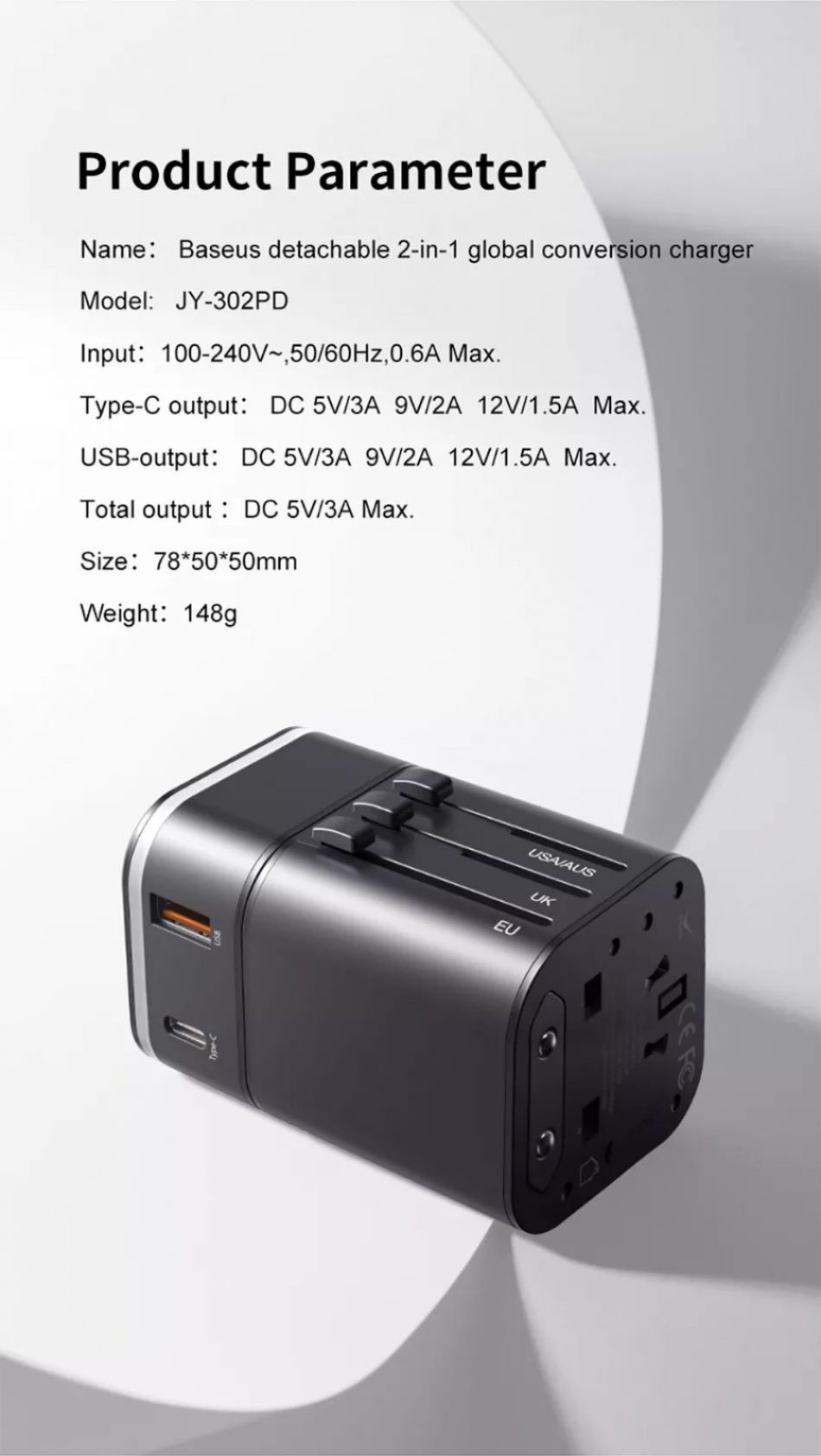 Baseus 2 In 1 Global Conversion Charger 18w (9)