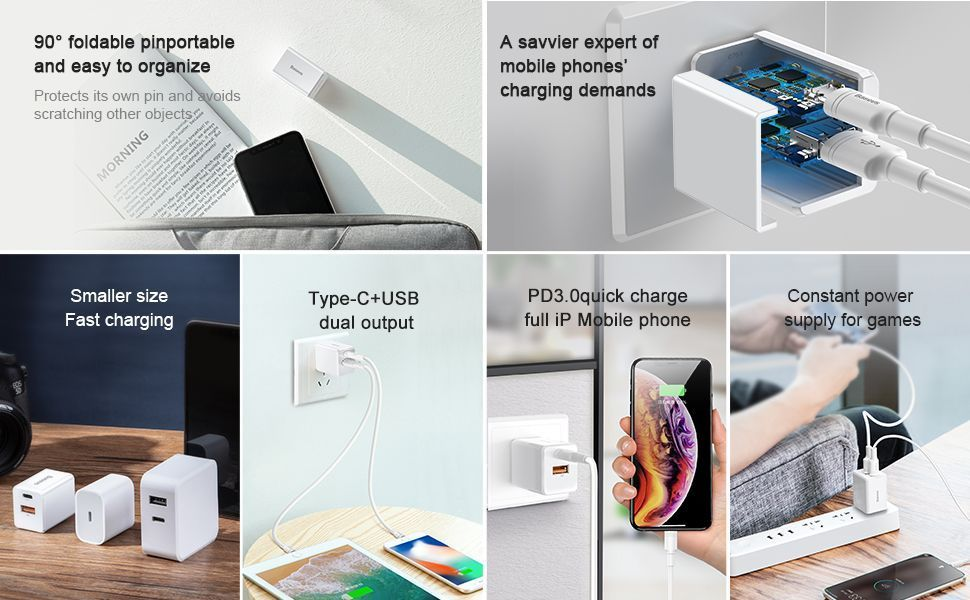 Baseus 18w Pd Quick Type C Charger For Macbook Pro Air Iphone Ipad Pro (4)