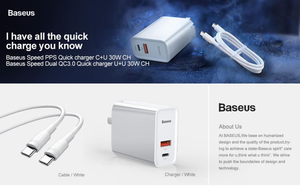Baseus 30w Speedy Series Pps Quick Charge Adapter With Type C To Type C Cable (3)