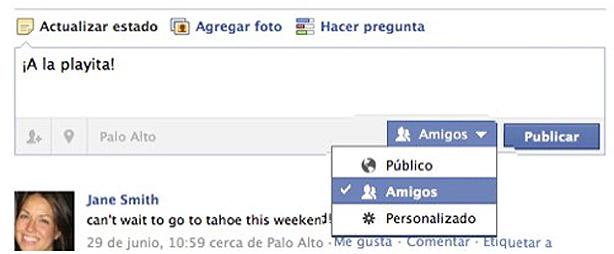 Seleccionar privacidad en Facebook