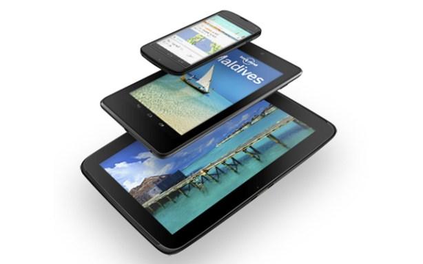 La familia Nexus de Google en tres tamaños de pantalla.