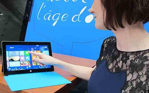 Windows 8 pantalla táctil surface