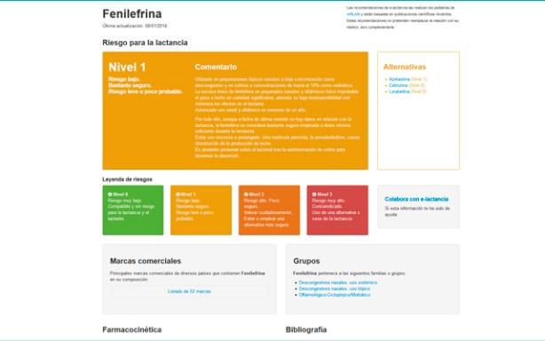 e-lactancia es un buscador que muestra el nivel de riesgo de los medicamentos y la lactancia materna