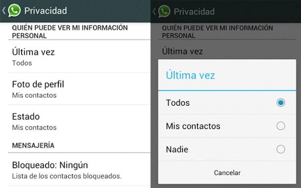 WhatsApp para Android añade opciones de Privacidad como ocultar la hora de la última conexión
