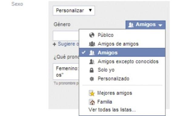 En Facebook podrás controlar con quién se comparte este género personalizado.
