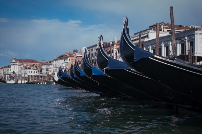 The black gondolas are a universal sign of Venice, Italy