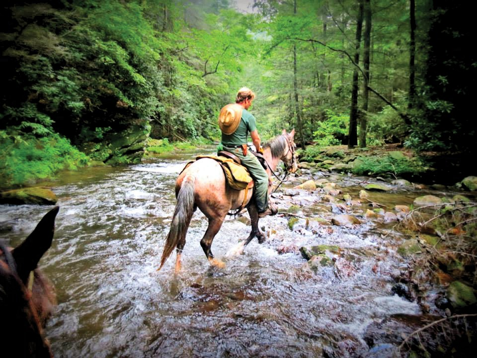 Crossing the river on horseback