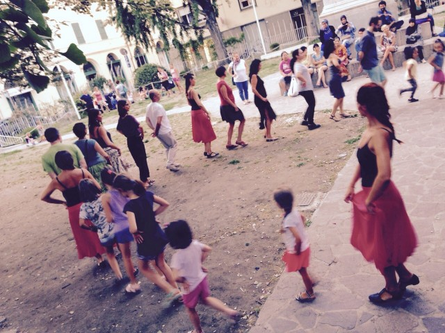 La scorsa lezione di pizzica al Parco San Francesco