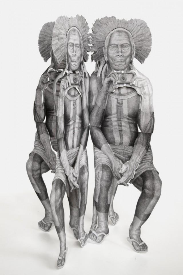 Daniel Otero_Senza Titolo_2014_pastello grafite su aluminnio, acciaio -29 x 29 x 130 cm