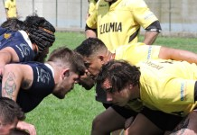 mischia durante la partita Rugby Giallo Dozza vs Rugby