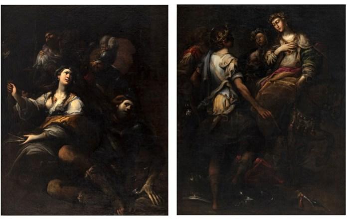Immagine: a sinistra, Sansone e Dalila; a des