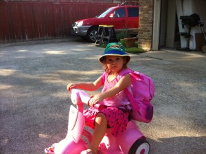"Ella on her ""Motorcycle"""