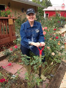 Susan Fox in the Rose Garden with Chicago Flower and Garden Show Hat