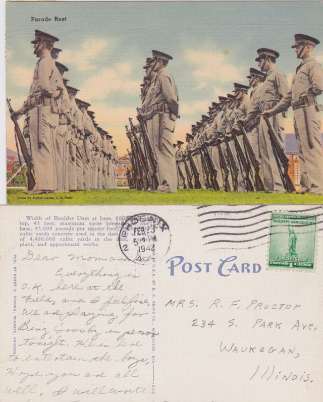 """WWII Post Card My Father sent Dated Feb 23, 1942 Daddy says, """"We're playing for Bing Crosby in person tonight to entertain the boys."""" Feb. 23, 1942"""