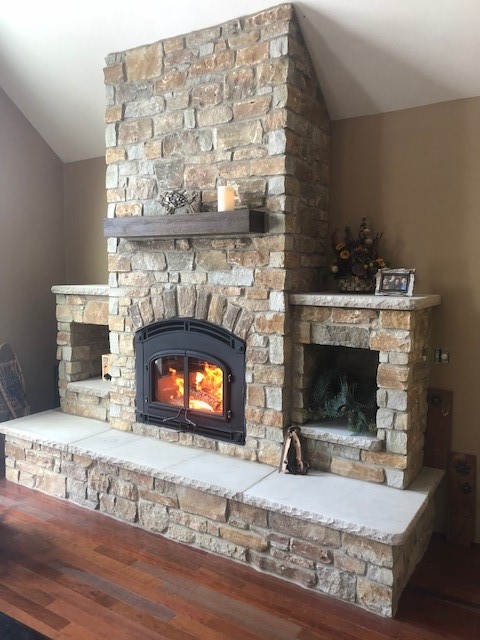 QuadraFire 7100 with Mission Front with Door Country Rustic Stone  Gagnon Clay Products
