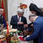 Armenia President, attend Easter Vigil service playing easter egg.