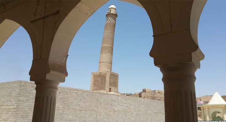 "The famous leaning ""hunchback"" minaret of the Grand Al-Nuri Mosque in Mosul."