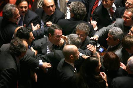 © Roberto Monaldo / LaPresse 15-11-2007 Roma Politica Senato - Dichiarazioni di voto Finanziaria 2008 Nella foto Tafferugli tra senatori dopo il voto