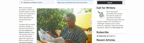 Article by Gaia Manco on press freedom in Ghana, European Journalism Centre