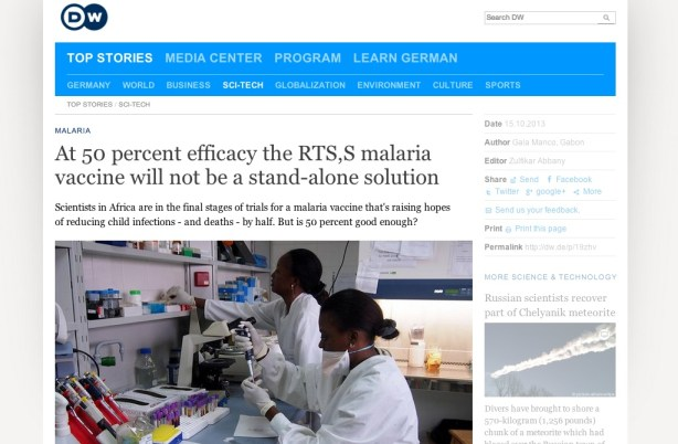 Article on a new malaria vaccine