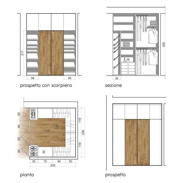 Progettare una cabina armadio misure e dimensioni minime for Progettare mobili
