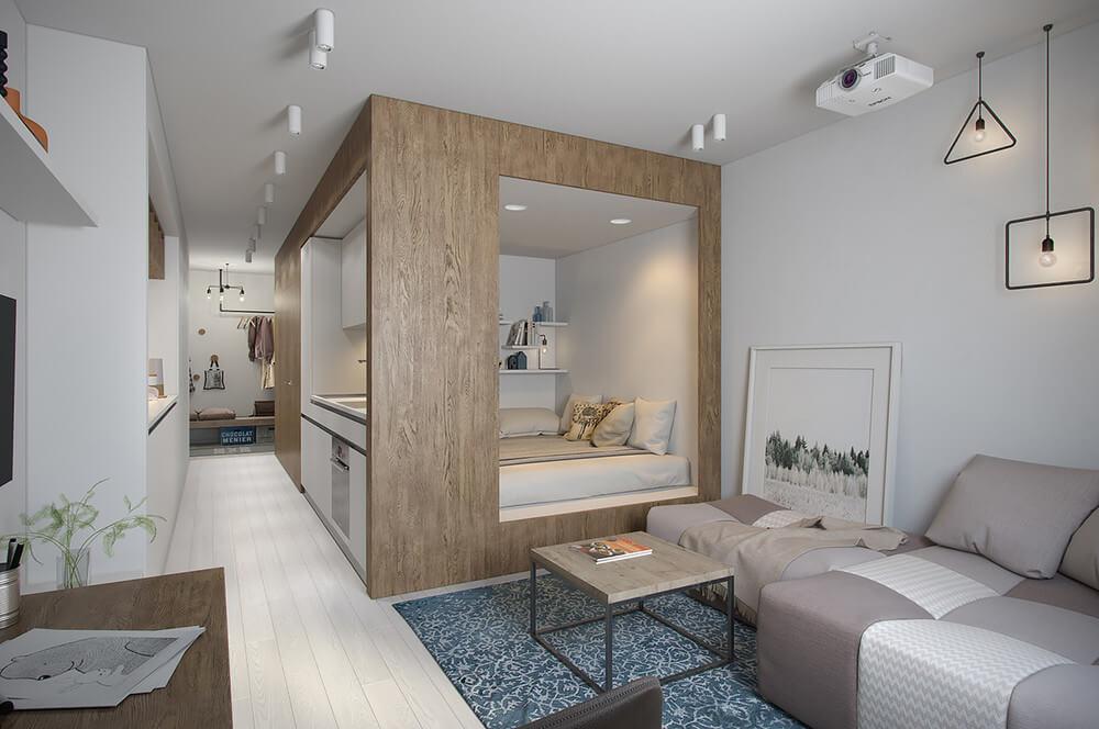 casa piccola con armadio divisorio