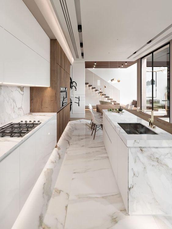 Marmo e legno la regola per abbinare pavimenti e rivestimenti - Come abbinare cucina e pavimento ...