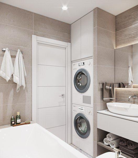 Arredare lavanderia in bagno con asciugatrice e lavatrice