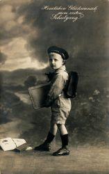 historische Postkarte Schulanfang