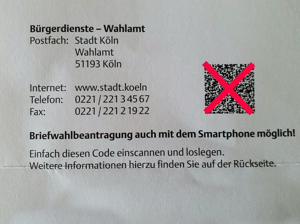 Briefwahlantrag Köln 13.09.2020