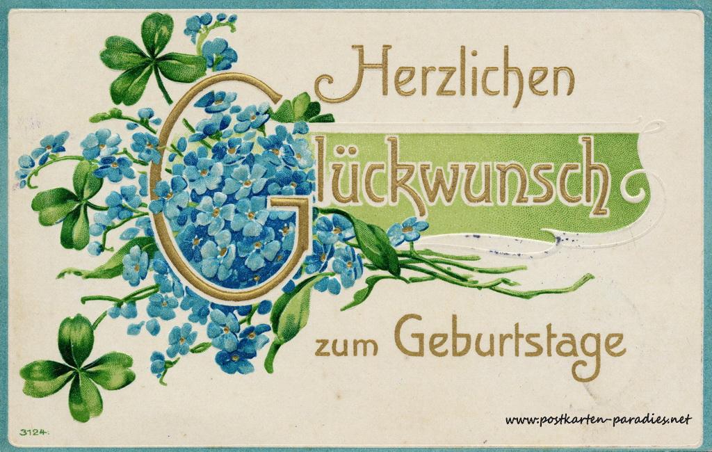Geburtstagsgrüße Postkarte vergissmeinnicht 1908