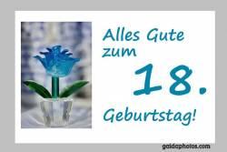 Karte zum 18. Geburtstag  Blume türkis