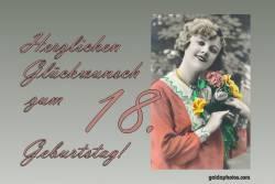 18. Geburtstag - Karte - Frau Blumenstrauß Antik
