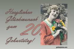 Karte zum 20. Geburtstag Frau Blumenstrauß Antik