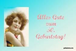 Karte 50. Geburtstag Frau Antik