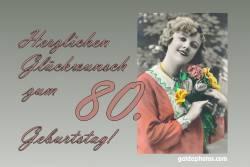 80. Geburtstag Karte Frau Blumenstrauß Antik