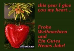 Frohe Weihnachten Karte, Herz
