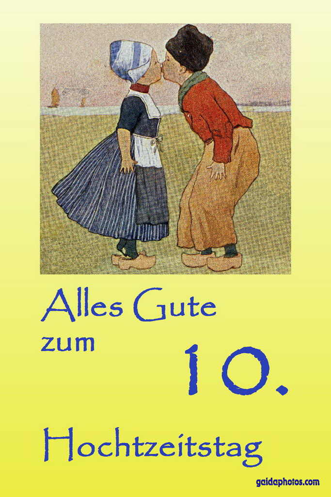 Karte 10. Hochtzeitstag Kuss Holland