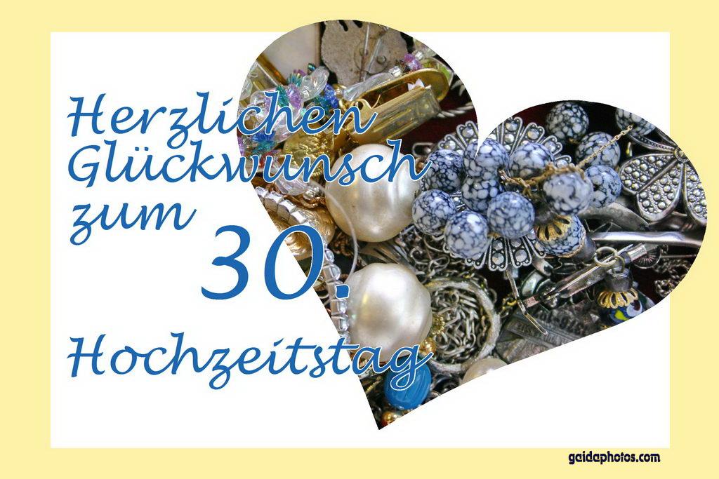 Karte 30. Hochzeitstag Herz Schmuck