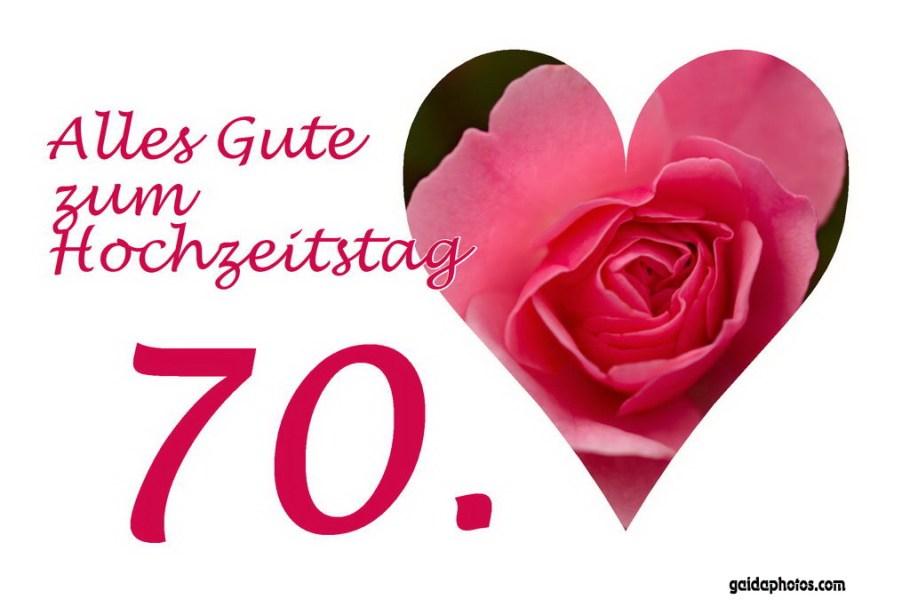 Glückwunschkarte 70. Hochzeitstag Herz rote Rose
