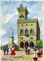 San Marino, Piazza del Liberta, Postkarte 1950er Jahre