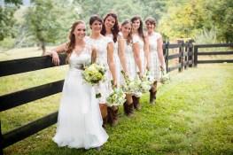 Bride and bridesmaids at Gaie Lea in Staunton Virginia