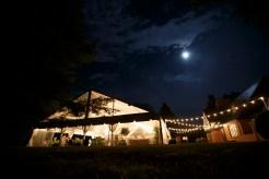 Wedding tent at night at Gaie Lea in Staunton