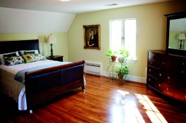 A bedroom at the house at Gaie Lea in Staunton, VA